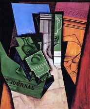"""100% Hand Painted Oil Painting Reproduction 20"""" x 24"""" Juan Gris  Breakfast"""