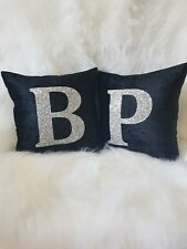 Glitter cushions. PAIR. Black. Silver. Crushed velvet. 12 x 12