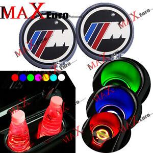 2X M Badge Emblem Colorful LED Car Cup Holder Pad Mat Interior Atmosphere Lights