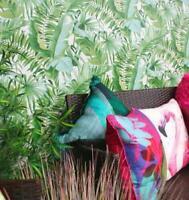 10m roll Alfresco leaves Palm Leaf Wallpaper White Green Jungle Tropical fd24136