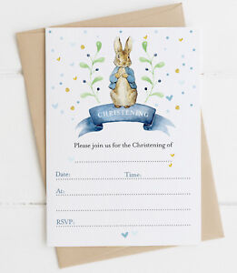 20 Peter Rabbit Christening Invitations Boy or Girl Blue/Pink