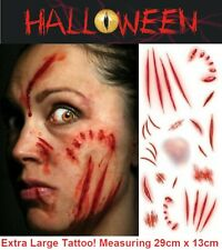 Large Halloween Tattoos Fake Scars Stitches Cuts Scab Wound FX Face Make Up Kit