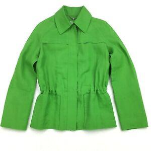 Agnona Italy Linen Long Sleeve Full Zip Jacket Pockets Lime Green Sz 40/ XS/ 2-4