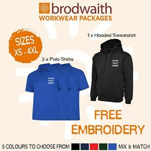 Personalised Embroidered Workwear Package Hooded Sweatshirt Polo Shirts FREE P&P