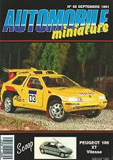 AUTOMOBILE MINIATURE N°88 PEUGEOT 106 XT VITESSE / CITROEN ZX / OORSCHE 959