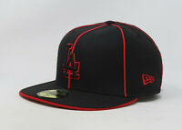 New Era 59Fifty Hat Mens MLB Los Angeles Dodgers Black Red Piping Fitted Cap