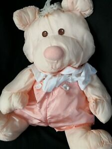 Vintage Fisher Price Puffalump peach bear retro 1980s dressed soft toy