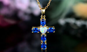 Sevil 18K Gold Plated Created Sapphire & Heart- Shaped Opal Cross Necklace