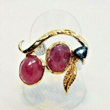 Handarbeit Oval Rubin Blautopas Damen Ring 925er Weiß / Gelbgold 19,1 mm 60