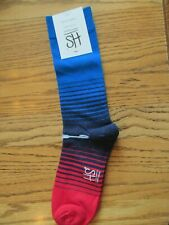 Men's Blue & Red Combed Cotton ~Novelty Socks~Shoe Size 8-12~ NEW w/Tags