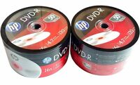 100 HP dvd 16X DVD DVD-R Branded Logo 4.7GB Media Disc 2x50pk