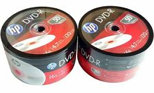 100 HP Blank DVD-R DVDR Recordable Logo Branded 4.7GB 16X 120Min Media Disc