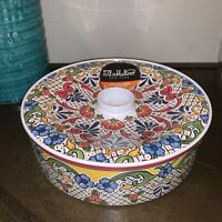 "Il Mulino Melamine Spanish Tile Medallion Tortilla Holder - Red Blue 9"" - New"