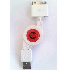 CAVO DATI-CARICA USB IPHONE 4 4S- RETRAIBILE RICARICA BATTERIA CUORE-CASA-AUTO