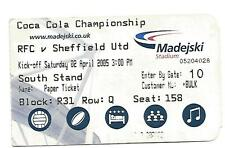 Football Ticket Stub - Reading v Sheffield United - Championship - 2/4/2005
