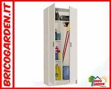 Armadio portascope 2 ante 73x37xh180cm bianco arredo casa bagno garage scopa
