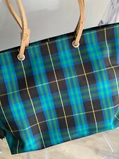 Burberry Tote Bag (green/blue tartan) with cream straps. 90s Vintage