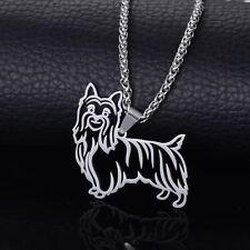 Stainless Steel Australian Silky Terrier Yorkshire Dog Pendant + Free Necklace