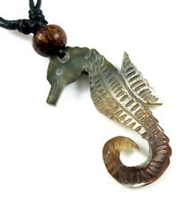 """Handmade 1.8"""" Seahorse Mother of Pearl Cord necklace 16'-32"""" adjustable ; CA201"""