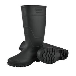 Pro.tec Bottes en Caoutchouc Pêcheur Bottes de Pluie Bottes PVC Noir Unisexe