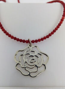 Red Coral Beaded Necklace With Sterling Silver Flower Pendant