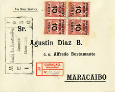 Curacao 1930 Air Mail Flight Cover Registered to Maracaibo