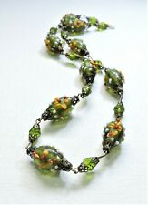 Vintage Olive Green w/ Yellow Flowers Lampwork Art Glass Bead Necklace Ma20Bn71