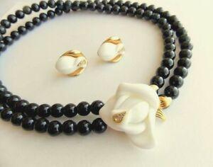 Kenneth Jay Lane KJL for Avon Midnight Rose Necklace Earrings Set