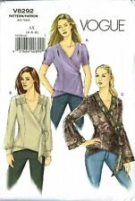 Vogue Wrap Blouse with Sleeve Variations Top Size 4-6-8 Pattern V8292