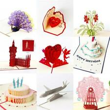 3D Pop Up Greeting Cards Birthday Thanksgiving Valentine Xmas Invitations Card