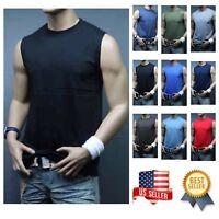 Men Muscle Sleeveless T-Shirt Tank Top Workout Casual Tee Gym Hiking Beach Comfy