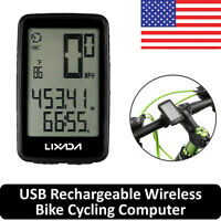 Lixada Wireless LCD Digital Cycle Computer USB Bicycle Bike Speedometer Odometer