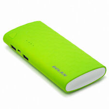 Ultra-sleek 11000mAh Dual-Port USB Portable External Battery Charger, Green