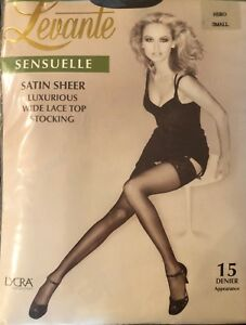 LEVANTE 'Sensuelle' Luxurious Wide Lace Topped, Silky Soft Stockings Nero-Black