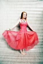 PETAL Hot pink layered bodice 1950s CUPCAKE Prom Evening Dress Rhinestone tulle