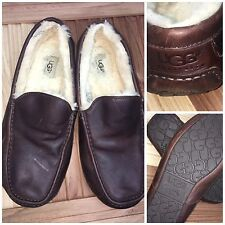 UGG Men's Sz 12 Ascot Lined Brown Leather Slippers Loafers | W