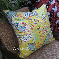 """Large 24X24"""" Yellow Pillow Cushion Cover Floral Decorative Kantha Stitch Throw"""