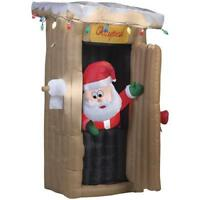 CHRISTMAS INFLATABLE 6 FT ANIMATED LED LIGHTED OUTHOUSE SANTA YARD Airblown