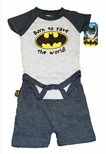 BATMAN BABY CREEPER AND SHORTS~SIZE 6/9 MONTHS~BORN TO SAVE THE WORLD~NEW W/TAG