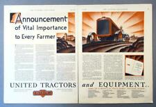 Original 1929 United Tractor Ad ANNOUNCEMENT OF VITAL IMPORTANCE TO EVERY FARMER