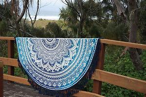 Hippie Indien Ombre Mandala Rond Plage Bleu Jeté Tapisserie Coton Yoga Tapis Art