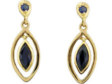 E094- Genuine 9ct Solid Yellow Gold Natural Sapphire Dangling Stud Earrings Drop
