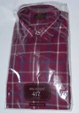 Vtg Van Heusen 417 plaid button down shirt burgundy 16 Mens long sleeve NOS NIP