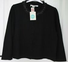 BNWT Boden SPANGLY Beaded Sequin Crew Neck 3/4 Sleeve Crop Cardigan Black - 14