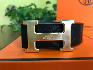 NEW HERMES Golden Buckle Leather Belt