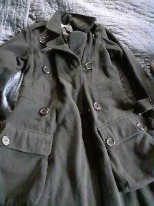 Sonia Rykiel Military Style Black Wool Winter Coat