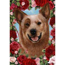 Roses House Flag - Red Australian Cattle Dog 19281