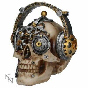 Techno Talk Skull Head in Headphones Gothic Steampunk Ornament Figurine Fantasy