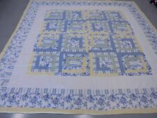 Cute Handmade Blue & Yellow Table Top Log Cabin w/Frames Quilt
