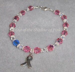 Male Breast Cancer Awareness Bracelet made w/ Swarovski Crystals .925 SS